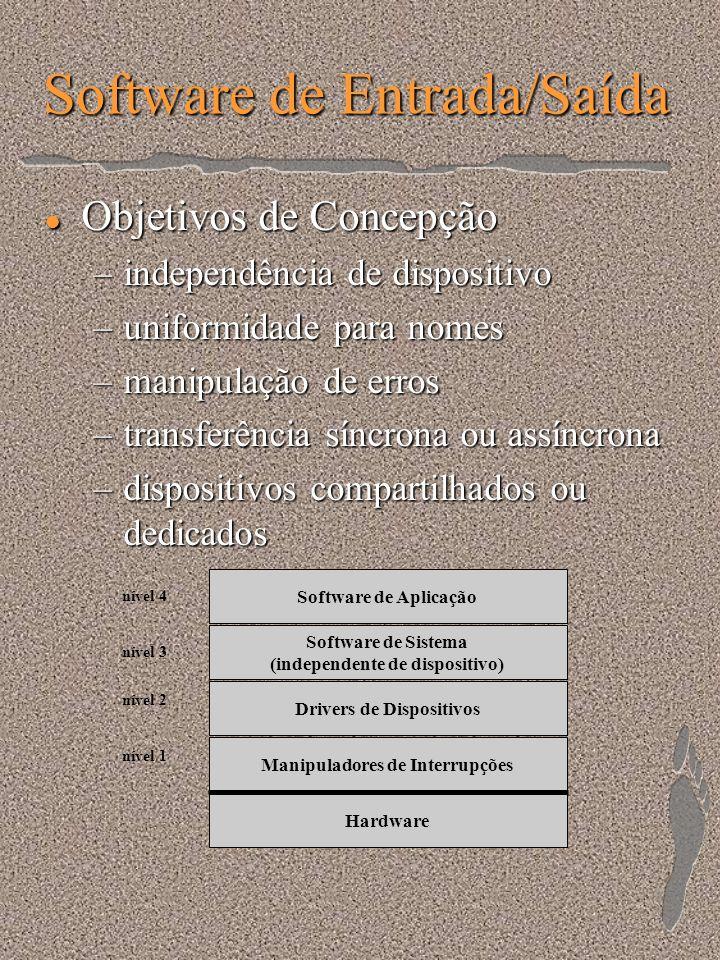 Software de Entrada/Saída l Objetivos de Concepção –independência de dispositivo –uniformidade para nomes –manipulação de erros –transferência síncron