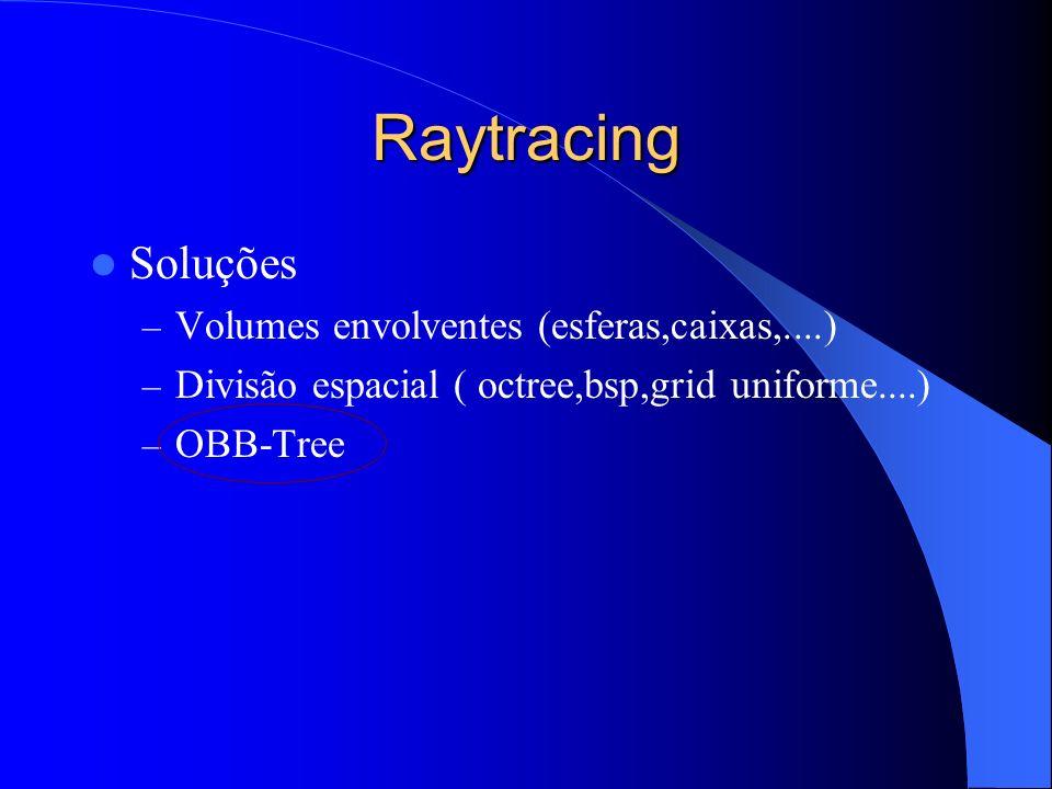 Raytracing OBB-Tree Apresentado por Gottschalk et al [1] Idéia – Para malhas de triângulos – Árvore binária onde cada nó possui uma OBB (oriented bounding box) associada.