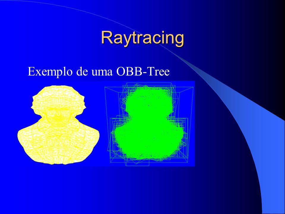 Raytracing Assim como a busca binária, o raio percorre a OBB-Tree a fim de determinar com qual triângulo da malha ele intercepta.