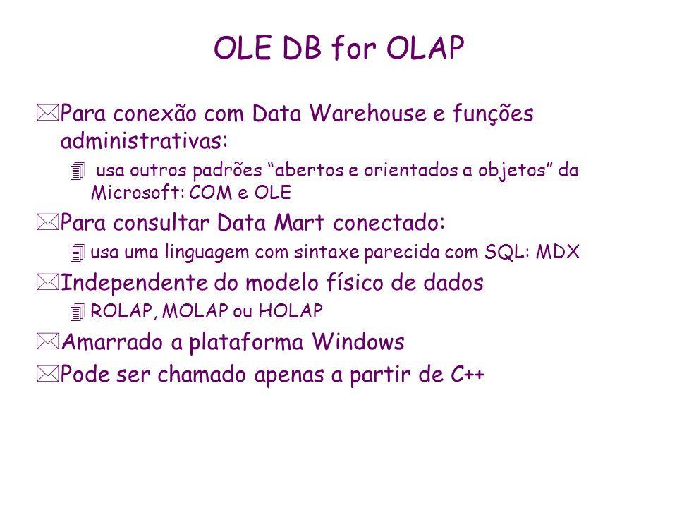 OLE DB for OLAP *Para conexão com Data Warehouse e funções administrativas: 4 usa outros padrões abertos e orientados a objetos da Microsoft: COM e OL
