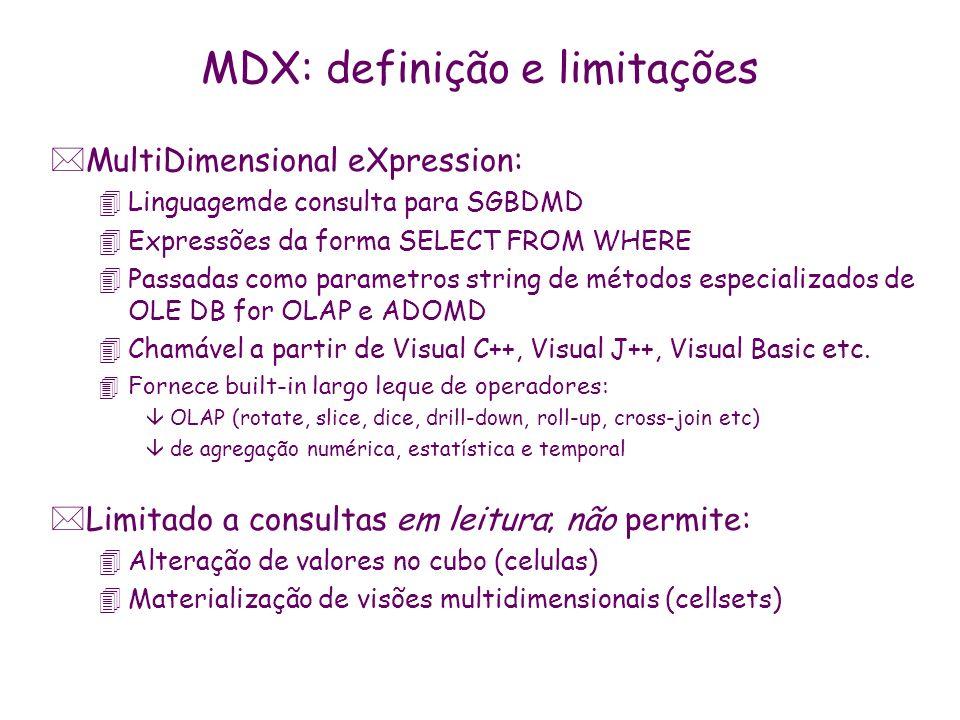 MDX: definição e limitações *MultiDimensional eXpression: 4Linguagemde consulta para SGBDMD 4Expressões da forma SELECT FROM WHERE 4Passadas como para