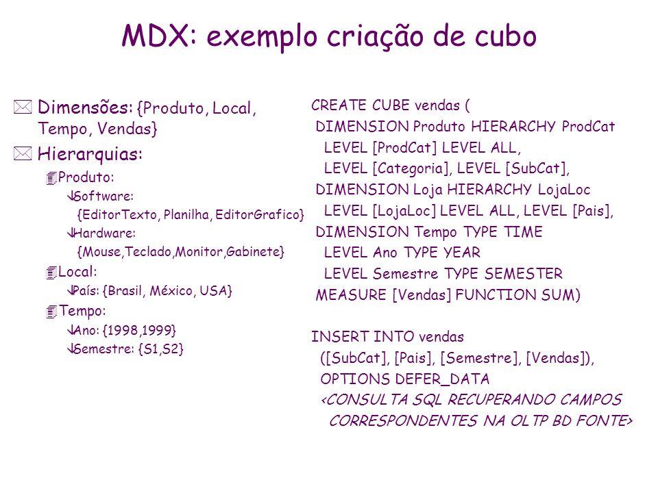 MDX: exemplo criação de cubo *Dimensões: {Produto, Local, Tempo, Vendas} *Hierarquias: 4Produto: âSoftware: {EditorTexto, Planilha, EditorGrafico} âHa