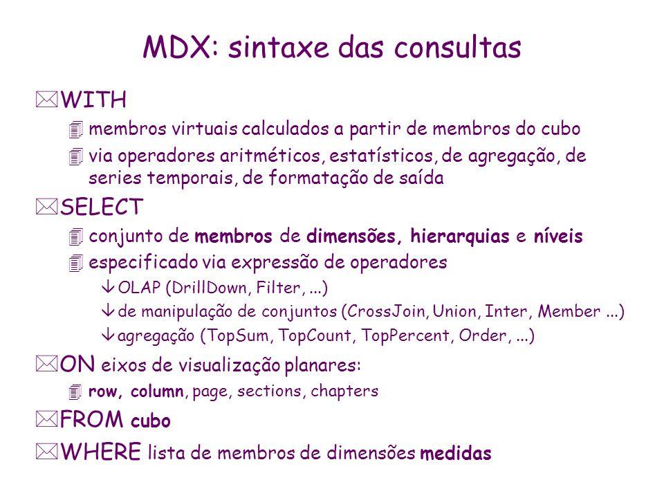 MDX: sintaxe das consultas *WITH 4membros virtuais calculados a partir de membros do cubo 4via operadores aritméticos, estatísticos, de agregação, de