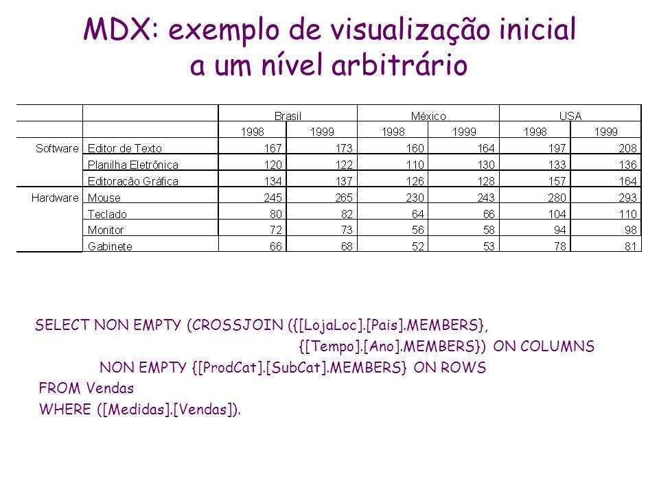 MDX: exemplo de visualização inicial a um nível arbitrário SELECT NON EMPTY (CROSSJOIN ({[LojaLoc].[Pais].MEMBERS}, {[Tempo].[Ano].MEMBERS}) ON COLUMN