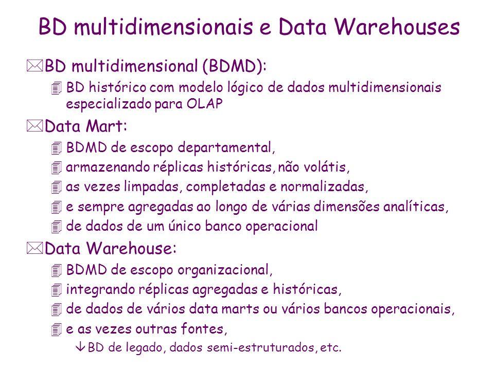 MDX: sintaxe das consultas *WITH 4membros virtuais calculados a partir de membros do cubo 4via operadores aritméticos, estatísticos, de agregação, de series temporais, de formatação de saída *SELECT 4conjunto de membros de dimensões, hierarquias e níveis 4especificado via expressão de operadores âOLAP (DrillDown, Filter,...) âde manipulação de conjuntos (CrossJoin, Union, Inter, Member...) âagregação (TopSum, TopCount, TopPercent, Order,...) *ON eixos de visualização planares: 4row, column, page, sections, chapters *FROM cubo *WHERE lista de membros de dimensões medidas