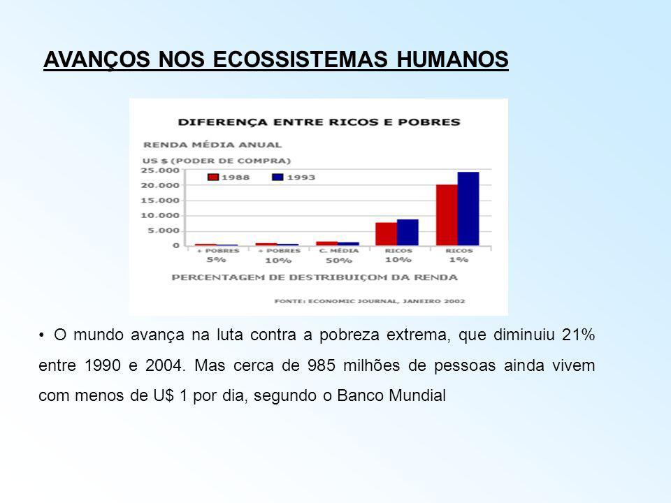 AVANÇOS NOS ECOSSISTEMAS HUMANOS O mundo avança na luta contra a pobreza extrema, que diminuiu 21% entre 1990 e 2004. Mas cerca de 985 milhões de pess