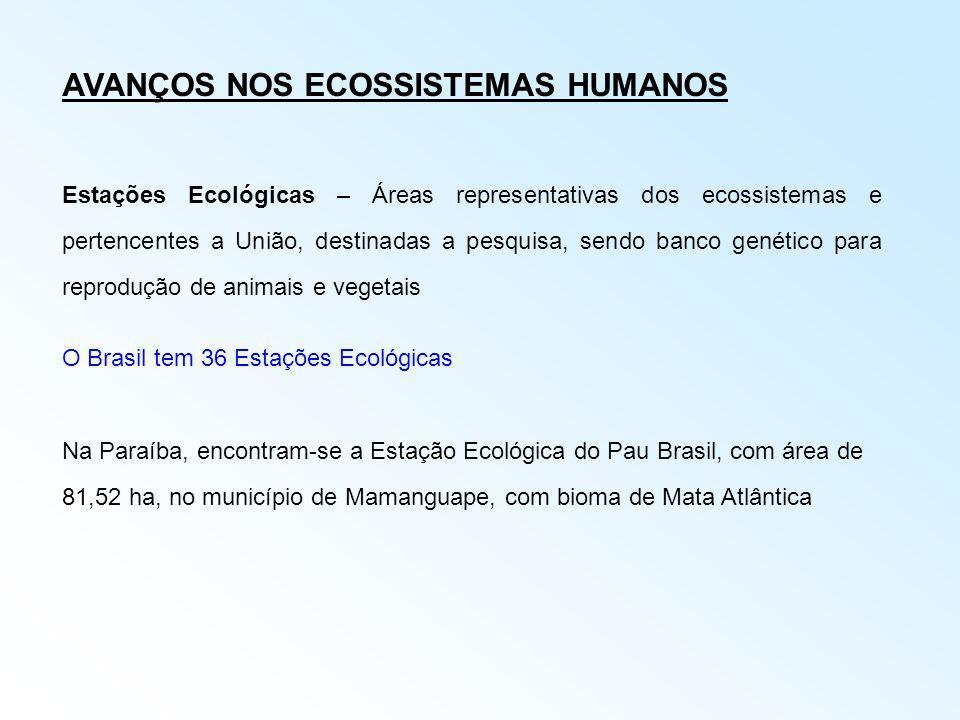 AVANÇOS NOS ECOSSISTEMAS HUMANOS Estações Ecológicas – Áreas representativas dos ecossistemas e pertencentes a União, destinadas a pesquisa, sendo ban