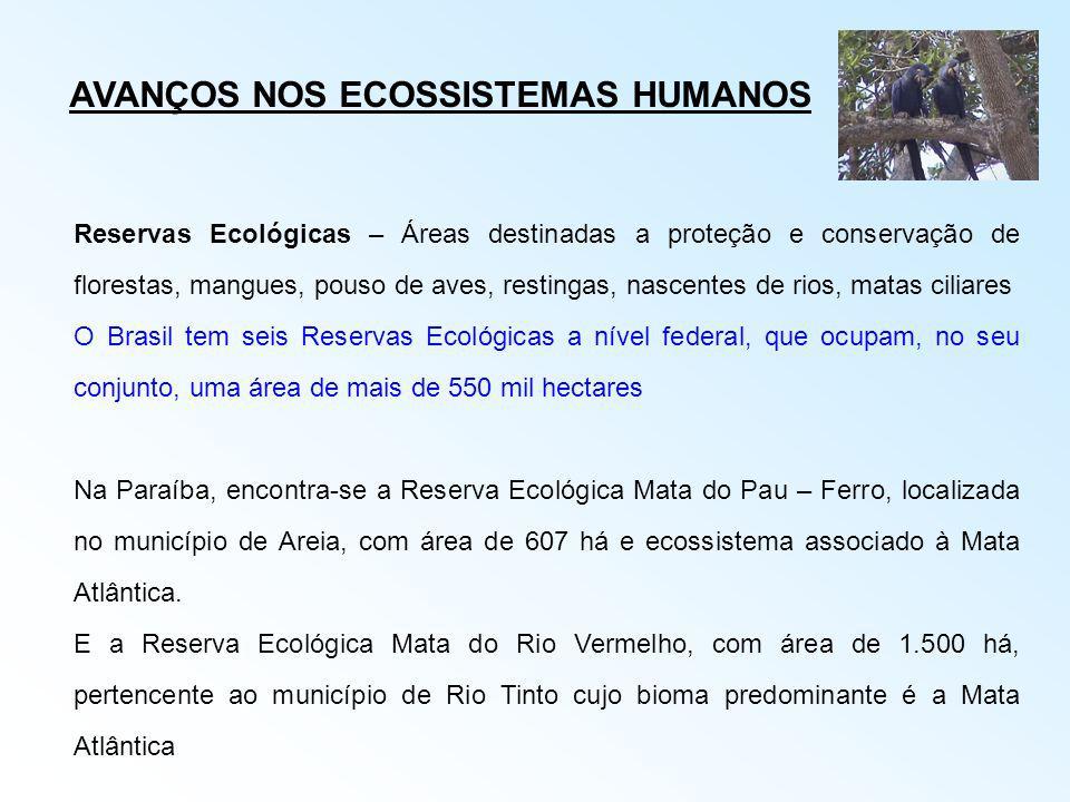AVANÇOS NOS ECOSSISTEMAS HUMANOS Reservas Ecológicas – Áreas destinadas a proteção e conservação de florestas, mangues, pouso de aves, restingas, nasc