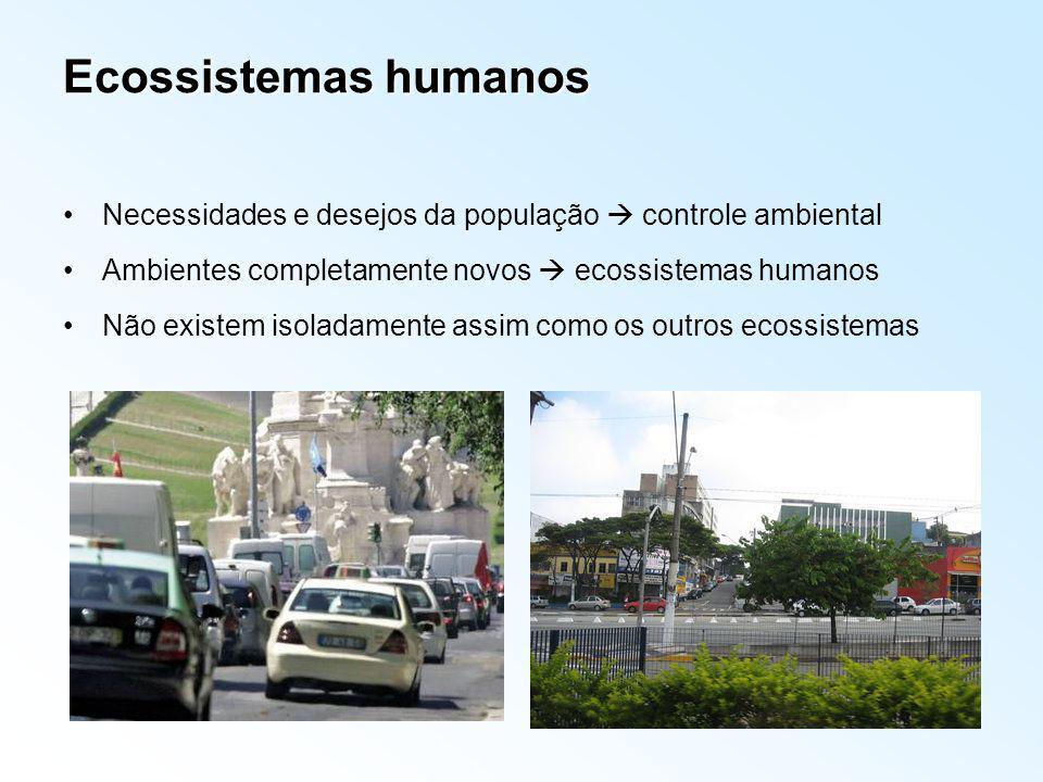 Ecossistemas humanos Necessidades e desejos da população controle ambiental Ambientes completamente novos ecossistemas humanos Não existem isoladament