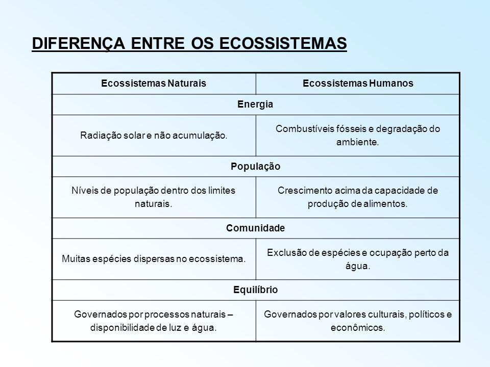 DIFERENÇA ENTRE OS ECOSSISTEMAS Ecossistemas NaturaisEcossistemas Humanos Energia Radiação solar e não acumulação. Combustíveis fósseis e degradação d
