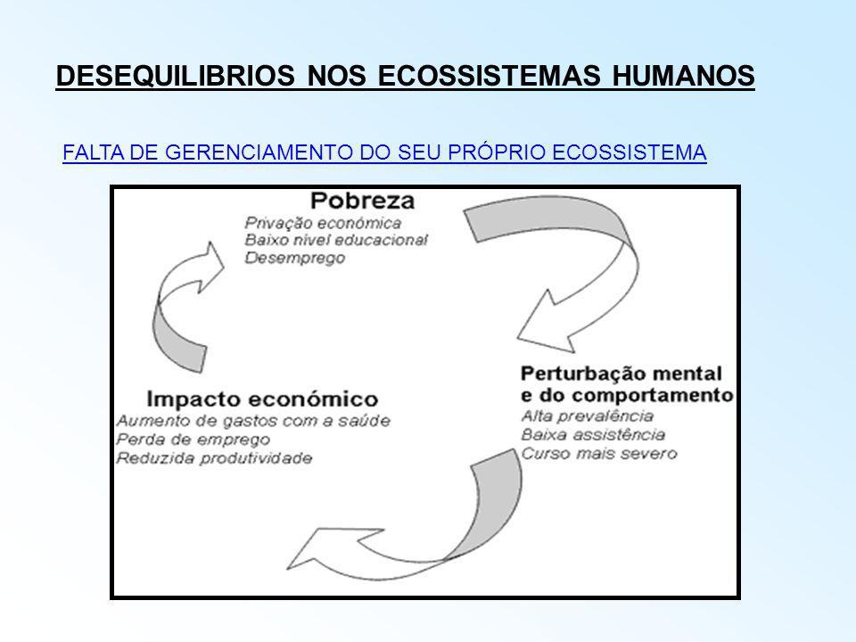 DESEQUILIBRIOS NOS ECOSSISTEMAS HUMANOS FALTA DE GERENCIAMENTO DO SEU PRÓPRIO ECOSSISTEMA