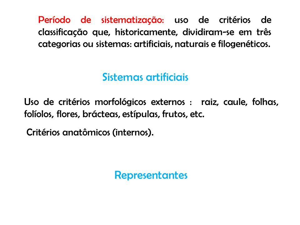 Período de sistematização: uso de critérios de classificação que, historicamente, dividiram-se em três categorias ou sistemas: artificiais, naturais e