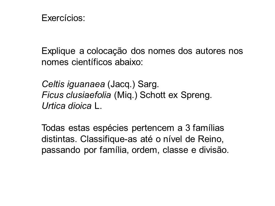 Exercícios: Explique a colocação dos nomes dos autores nos nomes científicos abaixo: Celtis iguanaea (Jacq.) Sarg. Ficus clusiaefolia (Miq.) Schott ex