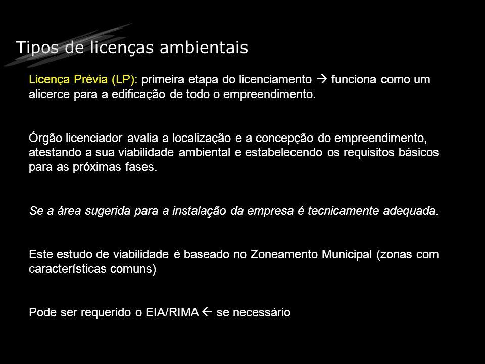 Tipos de licenças ambientais Licença Prévia (LP): primeira etapa do licenciamento funciona como um alicerce para a edificação de todo o empreendimento