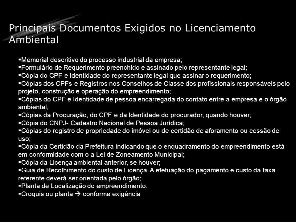 Principais Documentos Exigidos no Licenciamento Ambiental Memorial descritivo do processo industrial da empresa; Formulário de Requerimento preenchido
