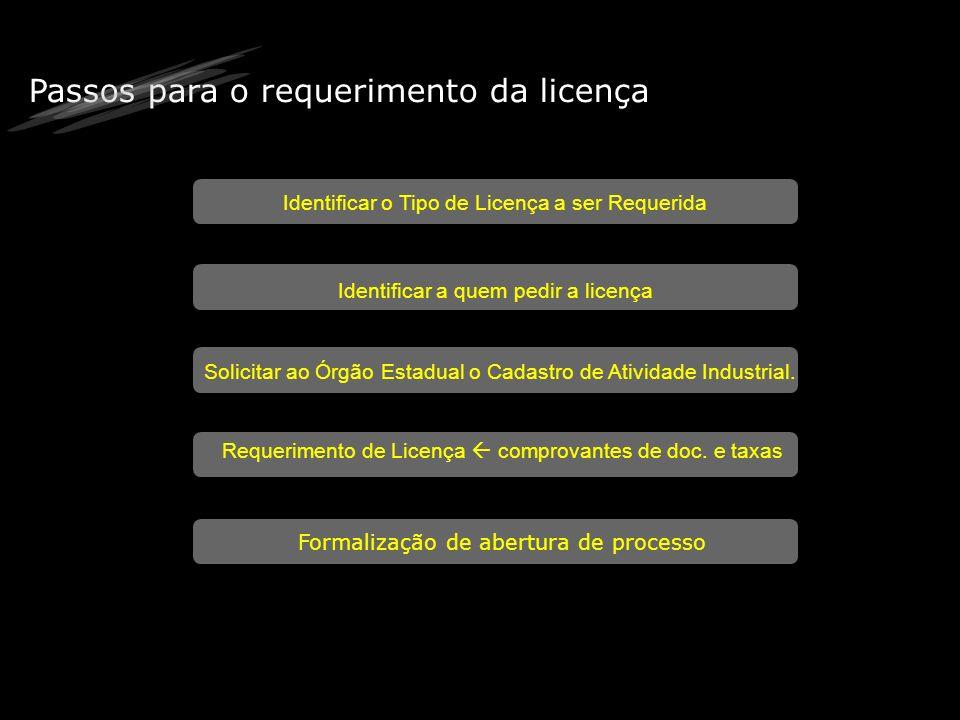 Passos para o requerimento da licença Identificar o Tipo de Licença a ser Requerida Identificar a quem pedir a licença Solicitar ao Órgão Estadual o C