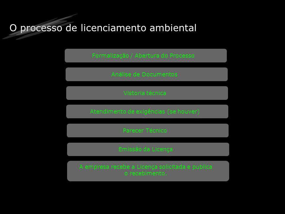 O processo de licenciamento ambiental Formalização / Abertura do Processo Análise de Documentos Vistoria técnica Atendimento de exigências (se houver)
