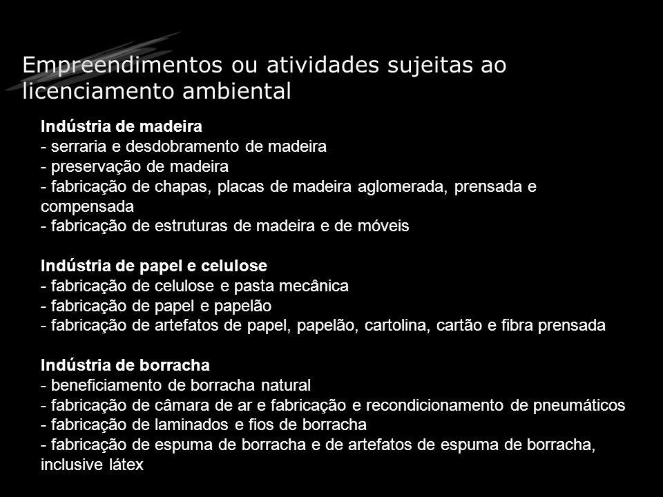 Empreendimentos ou atividades sujeitas ao licenciamento ambiental Indústria de madeira - serraria e desdobramento de madeira - preservação de madeira