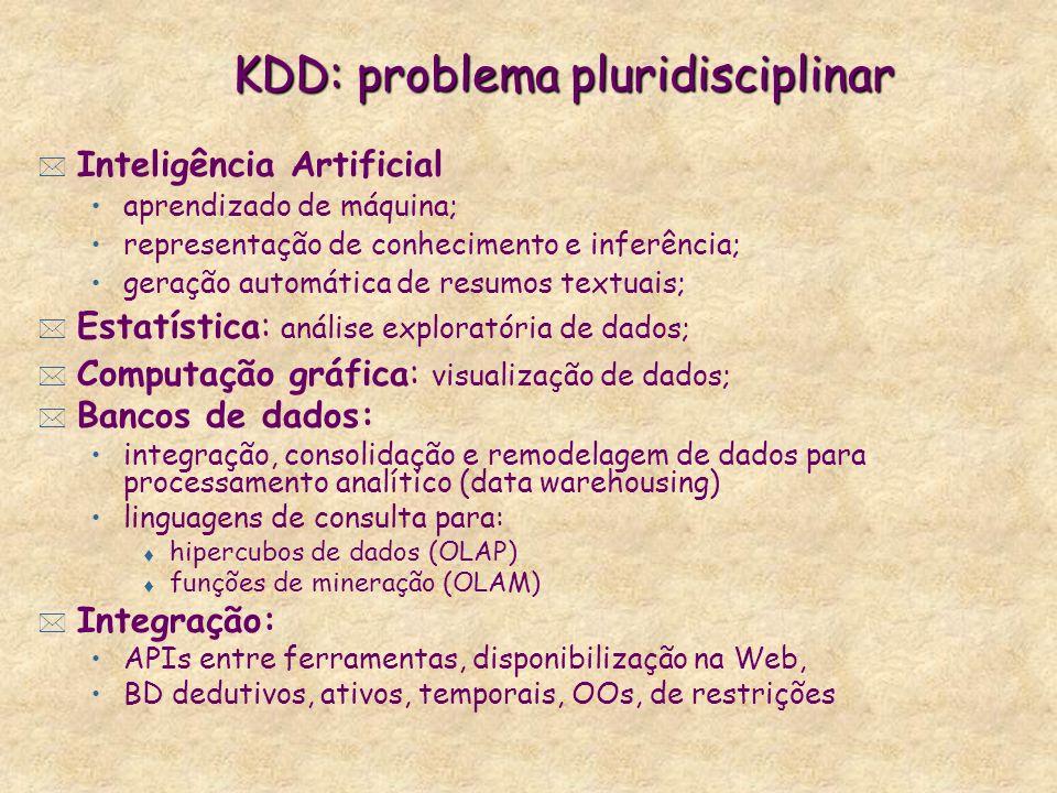 KDD: problema pluridisciplinar * Inteligência Artificial aprendizado de máquina; representação de conhecimento e inferência; geração automática de resumos textuais; * Estatística: análise exploratória de dados; * Computação gráfica: visualização de dados; * Bancos de dados: integração, consolidação e remodelagem de dados para processamento analítico (data warehousing) linguagens de consulta para: t hipercubos de dados (OLAP) t funções de mineração (OLAM) * Integração: APIs entre ferramentas, disponibilização na Web, BD dedutivos, ativos, temporais, OOs, de restrições
