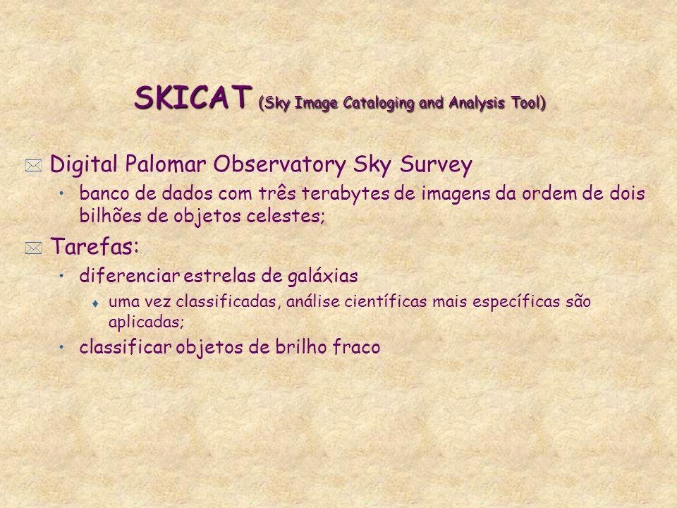 SKICAT (Sky Image Cataloging and Analysis Tool) * Digital Palomar Observatory Sky Survey banco de dados com três terabytes de imagens da ordem de dois bilhões de objetos celestes; * Tarefas: diferenciar estrelas de galáxias t uma vez classificadas, análise científicas mais específicas são aplicadas; classificar objetos de brilho fraco