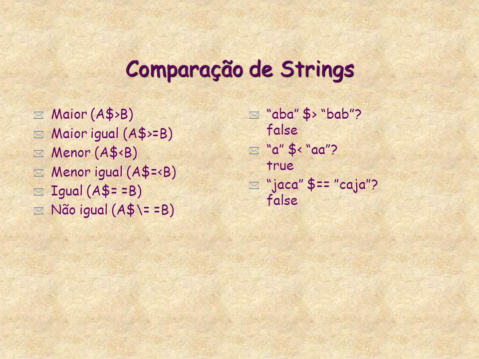 Cálculo de Strings * É tratada como um sort e usa menos mémoria que termos. * Tamanho da string, strlen(abcdef) = 6. * Parte de string, substr(abcdef,