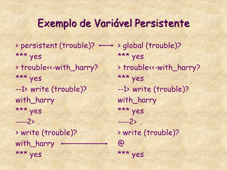 Termos e variáveis persistentes * Termos Persistentes É um termo que não muda o valor no backtracking. São termos apenas de leitura que só pode ser mo