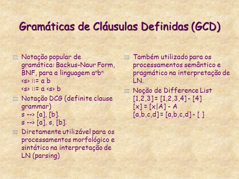 Atribuição Destrutiva não-Backtrackable * X sobrepõe Y. Backtracking não recupera os valores originais de X. (X <<- Y) > X=5? *** yes X = 5. --1> X <<