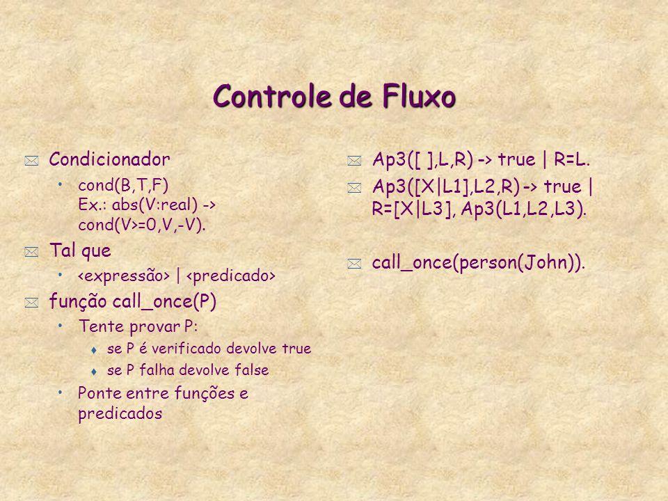 Controle de Fluxo * de predicados: Como em Prolog: fail. conjunção (A,B). disjunção (A;B). Diferente de Prolog: succeed (em Prolog, true). * de funçõe