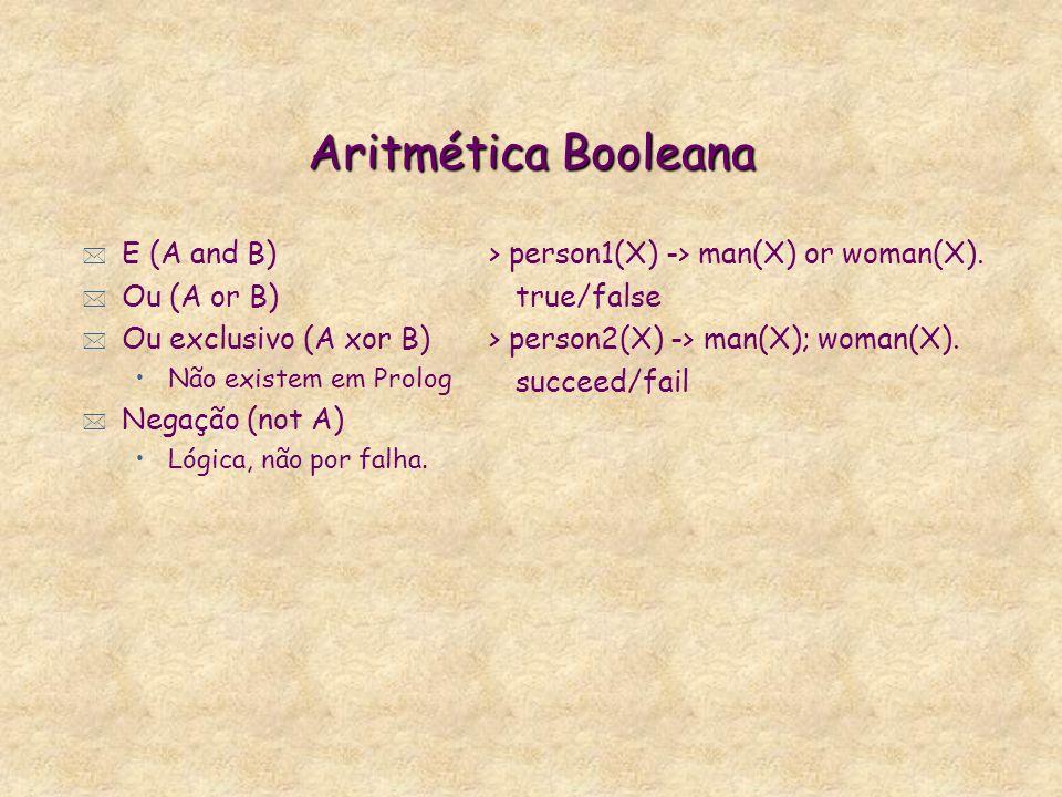 Comparação Aritmética * Maior (A>B) * Maior igual (A>=B) * Menor (A<B) * Menor igual (A<=B) * Igualdade (A=:=B) * Diferença (A=\=B) > maior2(X) :- X >