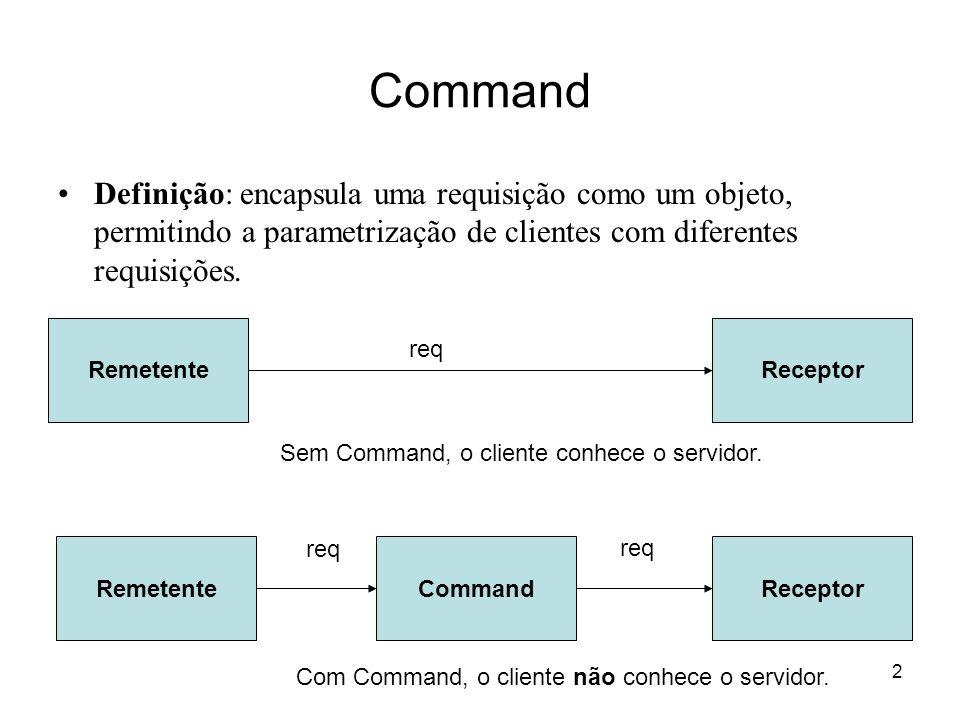 2 Definição: encapsula uma requisição como um objeto, permitindo a parametrização de clientes com diferentes requisições. RemetenteReceptor RemetenteC