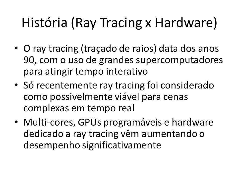 História (Ray Tracing x Hardware) O ray tracing (traçado de raios) data dos anos 90, com o uso de grandes supercomputadores para atingir tempo interativo Só recentemente ray tracing foi considerado como possivelmente viável para cenas complexas em tempo real Multi-cores, GPUs programáveis e hardware dedicado a ray tracing vêm aumentando o desempenho significativamente