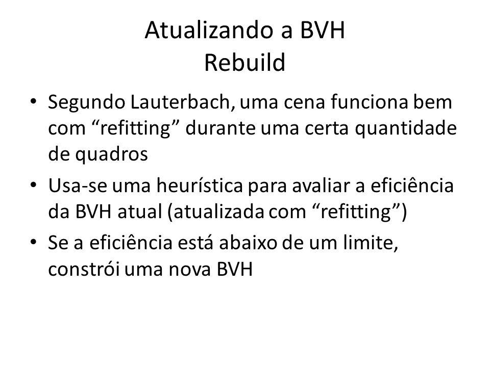 Atualizando a BVH Rebuild Segundo Lauterbach, uma cena funciona bem com refitting durante uma certa quantidade de quadros Usa-se uma heurística para avaliar a eficiência da BVH atual (atualizada com refitting) Se a eficiência está abaixo de um limite, constrói uma nova BVH