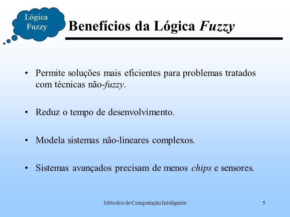 Métodos de Computação Inteligente26 Etapas do Raciocínio Lógica Fuzzy Linguístico Numérico Nível Variáveis Calculadas (Valores Numéricos) (Valores Linguísticos) Inferência Variáveis de Comando Defuzzificação Objeto Fuzzificação (Valores Linguísticos) Variáveis de Comando (Valores Numéricos) Nível