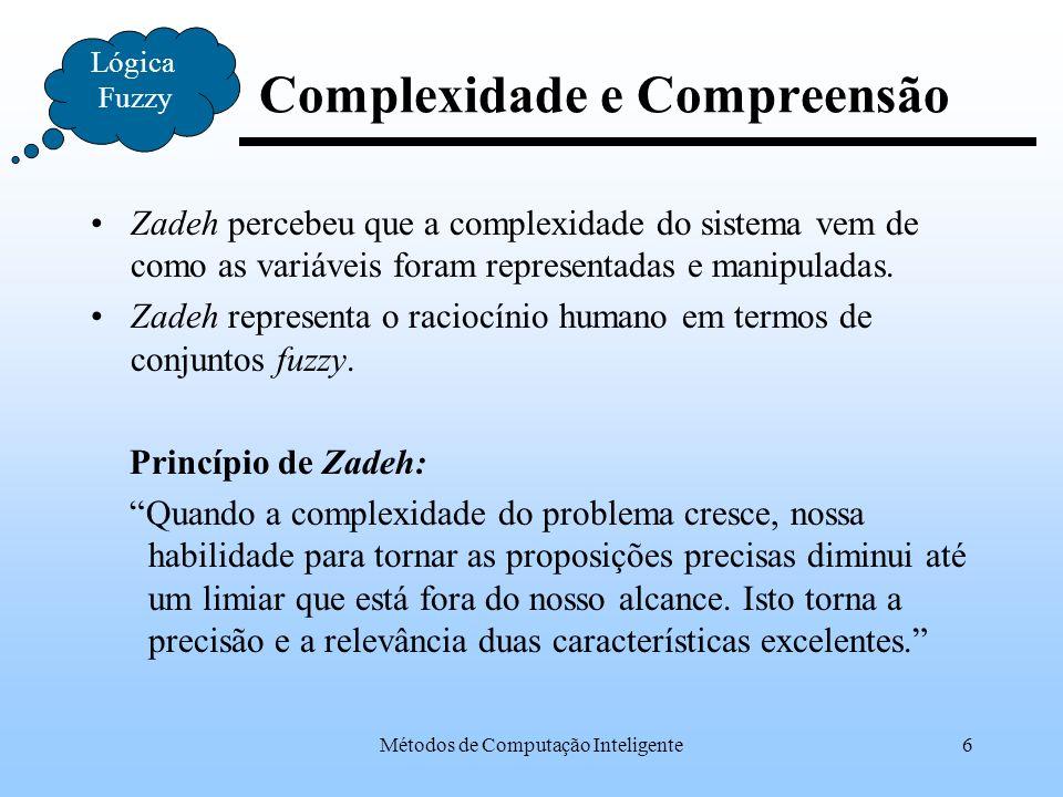 Métodos de Computação Inteligente27 Lógica Fuzzy Etapas do Raciocínio Proposição 1Proposição 2Proposição 3Proposição n Defuzzificação Valor Esperado Composição