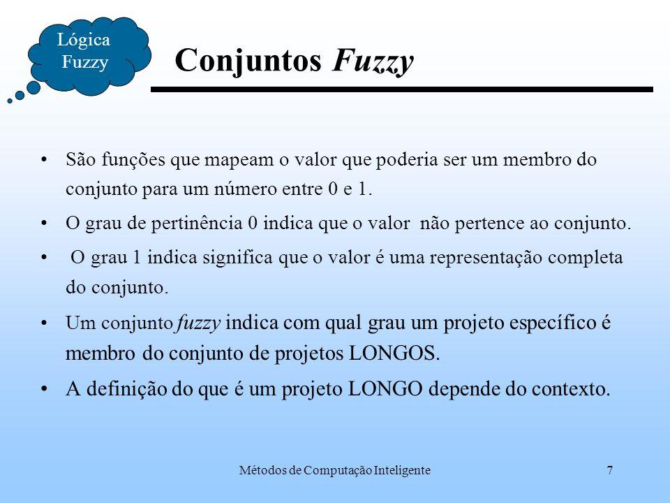 Métodos de Computação Inteligente8 Lógica Fuzzy Conjuntos Fuzzy Grau de Pertinência 0 2 4 6 8 10 12 14 16 18 Duração(em semanas) 1 Um projeto Longo