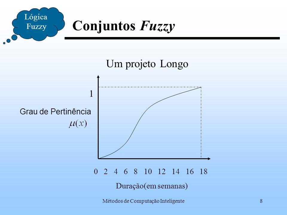 Métodos de Computação Inteligente39 Fuzzificação Lógica Fuzzy Na definição das funções de pertinência para cada variável, diversos tipos de espaço podem ser gerados.