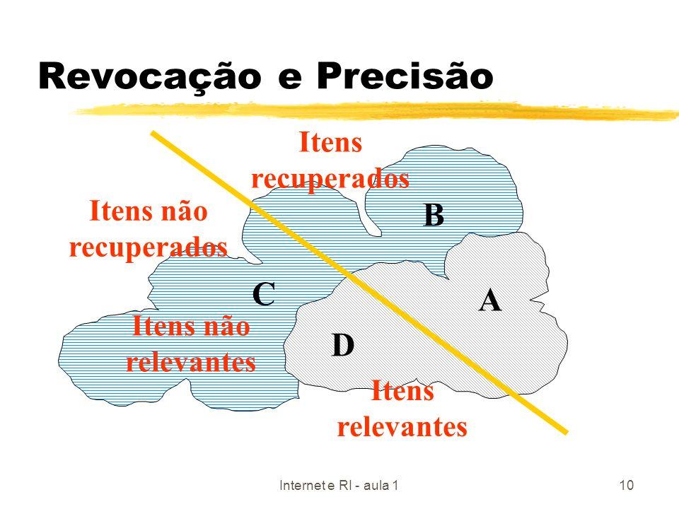 Internet e RI - aula 110 Revocação e Precisão Itens não relevantes Itens relevantes Itens recuperados Itens não recuperados A C B D