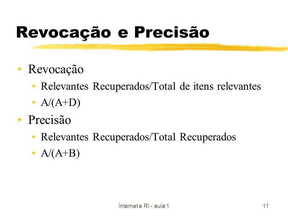 Internet e RI - aula 111 Revocação e Precisão Revocação Relevantes Recuperados/Total de itens relevantes A/(A+D) Precisão Relevantes Recuperados/Total