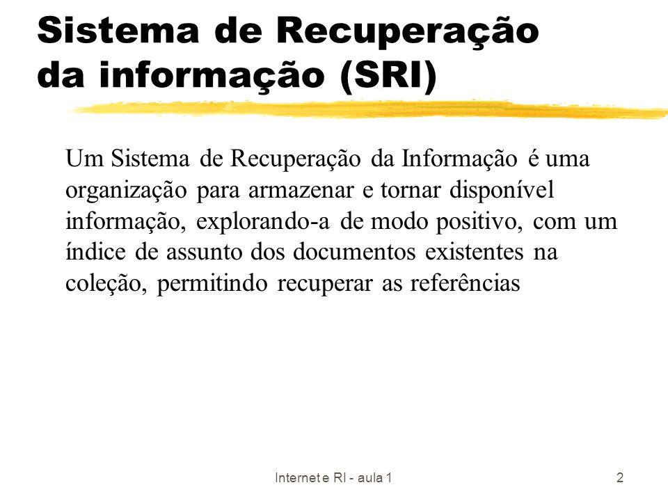Internet e RI - aula 12 Sistema de Recuperação da informação (SRI) Um Sistema de Recuperação da Informação é uma organização para armazenar e tornar d