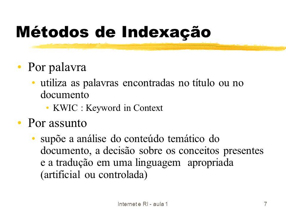 Internet e RI - aula 17 Métodos de Indexação Por palavra utiliza as palavras encontradas no título ou no documento KWIC : Keyword in Context Por assun