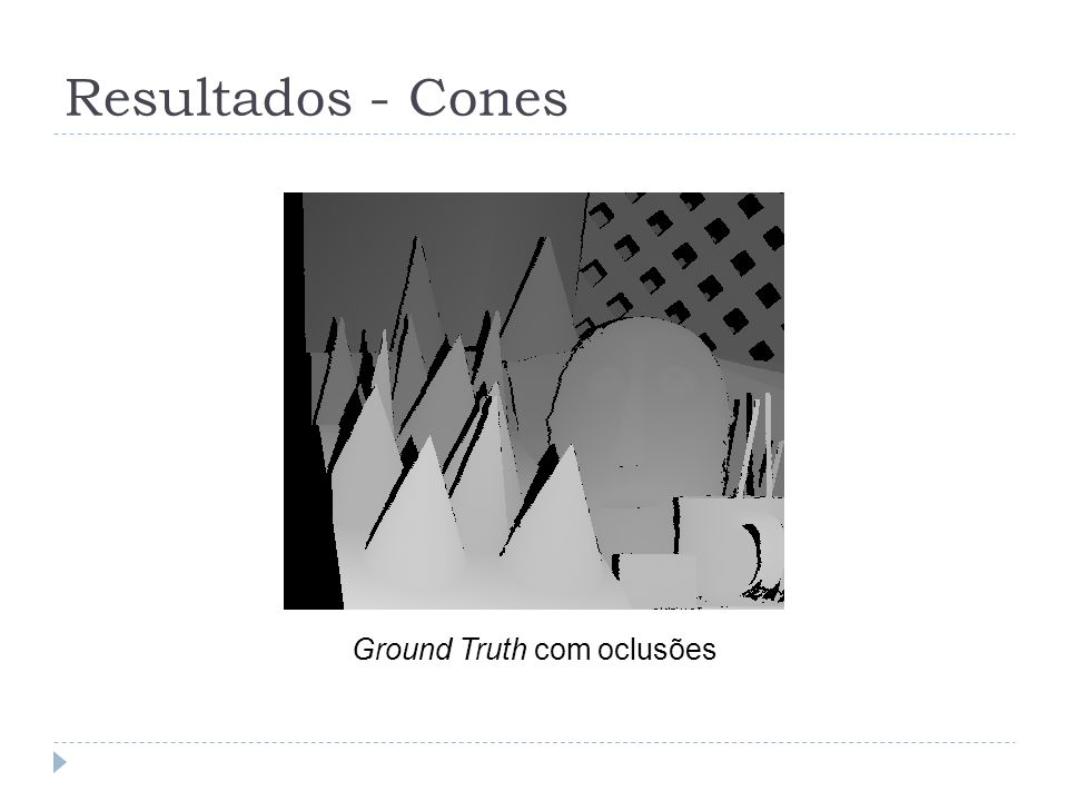 Resultados - Cones Ground Truth com oclusões