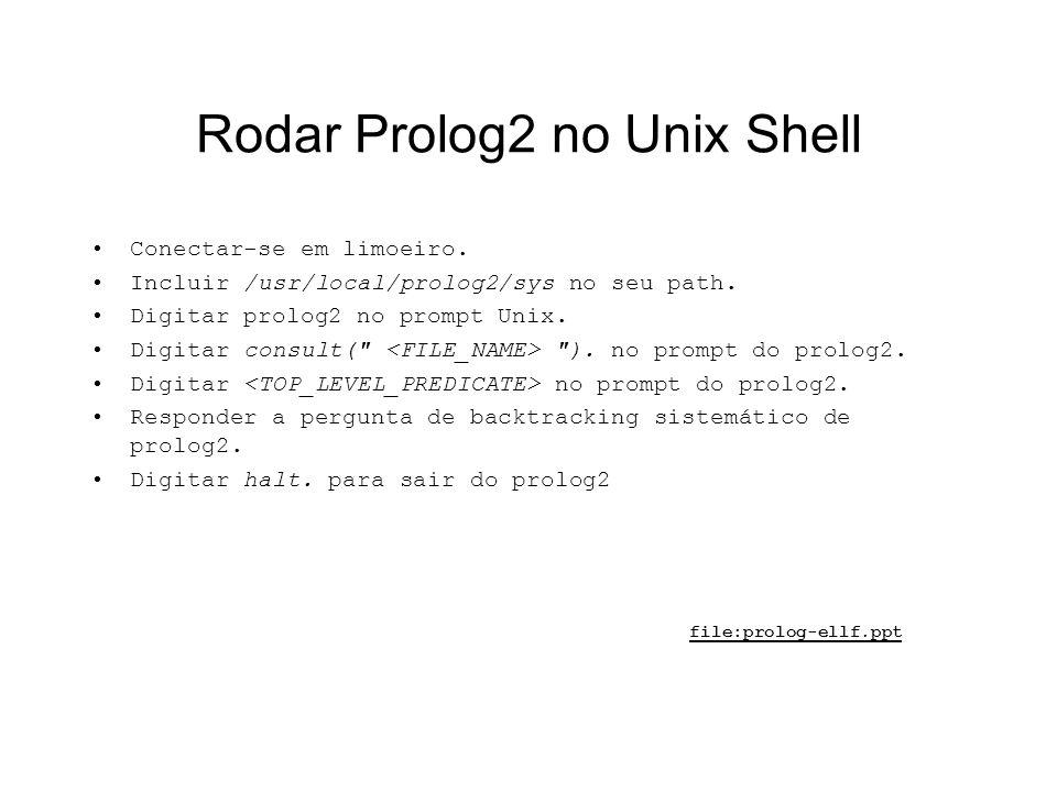 Rodar Prolog2 no Unix Shell Conectar-se em limoeiro. Incluir /usr/local/prolog2/sys no seu path. Digitar prolog2 no prompt Unix. Digitar consult(