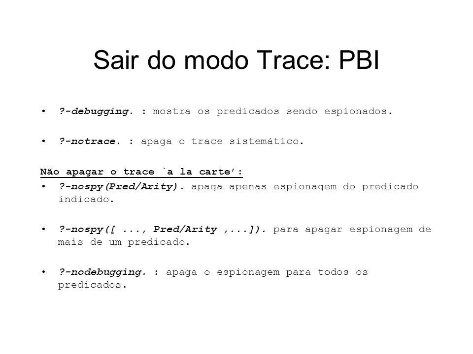 Sair do modo Trace: PBI ?-debugging. : mostra os predicados sendo espionados. ?-notrace. : apaga o trace sistemático. Não apagar o trace `a la carte: