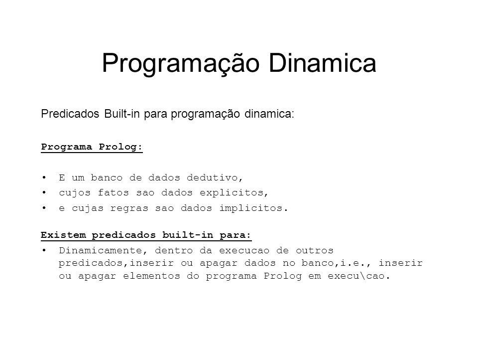 Programação Dinamica Predicados Built-in para programação dinamica: Programa Prolog: E um banco de dados dedutivo, cujos fatos sao dados explicitos, e