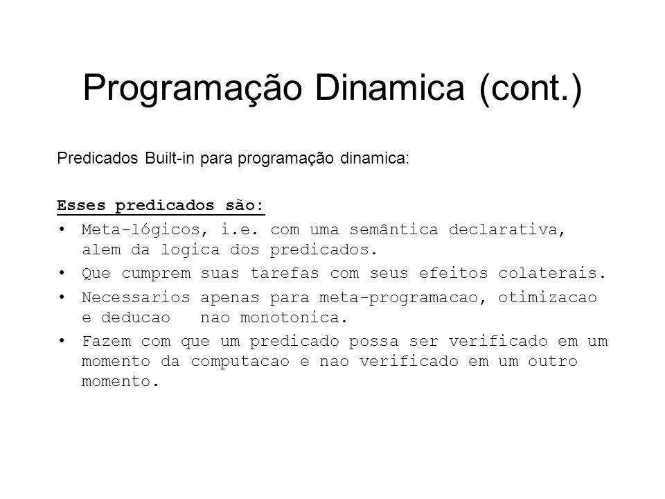 Programação Dinamica (cont.) Predicados Built-in para programação dinamica: Esses predicados são: Meta-lógicos, i.e. com uma semântica declarativa, al