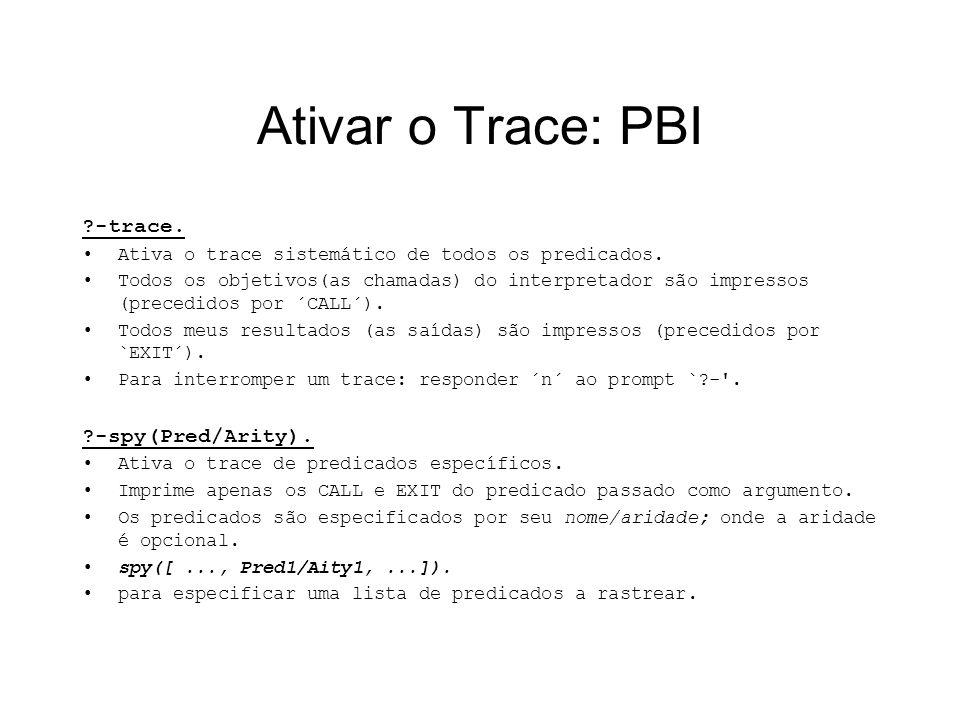 Ativar o Trace: PBI ?-trace. Ativa o trace sistemático de todos os predicados. Todos os objetivos(as chamadas) do interpretador são impressos (precedi