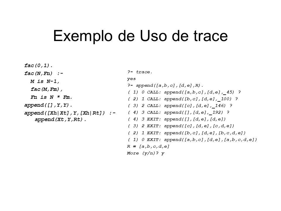 Exemplo de Uso de trace fac(0,1). fac(N,Fn) :- M is N-1, fac(M,Fm), Fn is N * Fm. append([],Y,Y). append([Xh|Xt],Y,[Xh|Rt]) :- append(Xt,Y,Rt). ?- tra