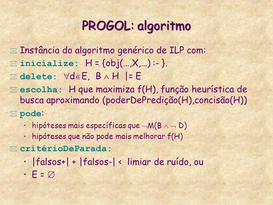 PROGOL: algoritmo * Instância do algoritmo genérico de ILP com: inicialize: H = {obj(…,X,…) :- }. delete: d E, B H |= E escolha: H que maximiza f(H),