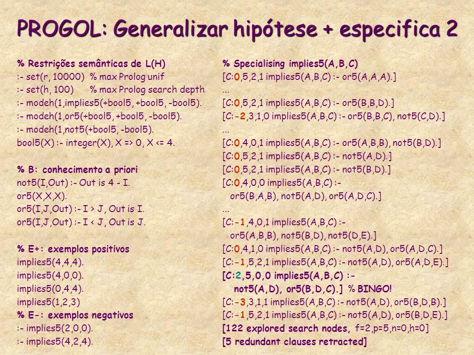 PROGOL: Generalizar hipótese + especifica 2 % Specialising implies5(A,B,C) [C:0,5,2,1 implies5(A,B,C) :- or5(A,A,A).]... [C:0,5,2,1 implies5(A,B,C) :-