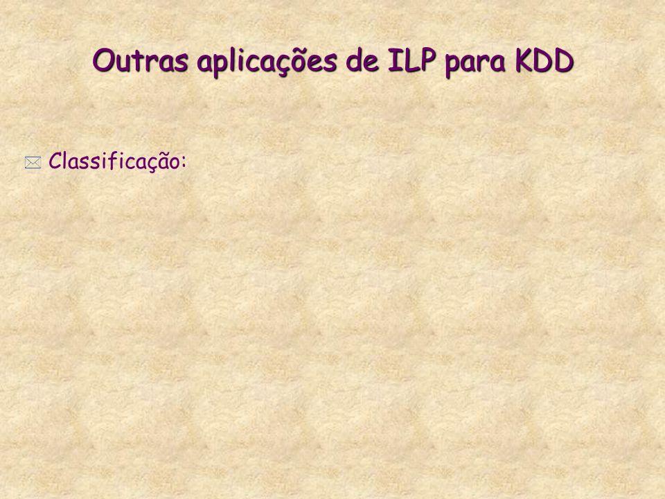 Outras aplicações de ILP para KDD Outras aplicações de ILP para KDD * Classificação: